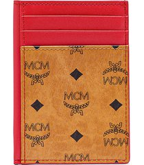 men's mcm mini visetos original & leather card case - brown