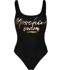 moschino logo-print scoop-back swimsuit - black