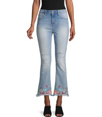 driftwood women's roxy cropped & frayed flare jeans - light wash - size 25 (2)