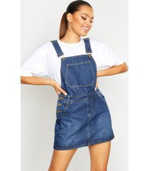 denim dungaree pinafore dress, blue