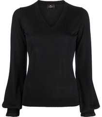 etro bell sleeve knitted top - black