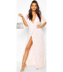 boutique sequin plunge maxi dress, blush