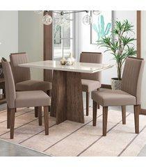 mesa de jantar 4 lugares ana 1126 100% mdf castanho/off white - new ceval