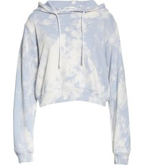 women's cotton citizen milan crop distressed hoodie, size large - blue