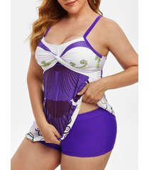 plus size front twist printed tankini swimwear