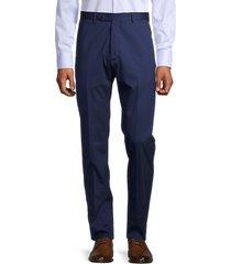zanella men's noah classic flat-front virgin wool pants - blue - size 36