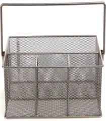 mind reader storage basket organizer, utensil holder, silver