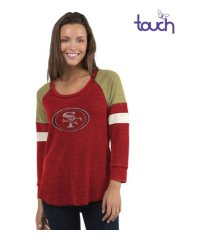touch by alyssa milano san francisco 49ers women's distinct snap thermal t-shirt