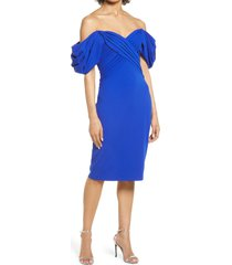 women's tadashi shoji sweetheart neck strapless crepe cocktail sheath dress, size x-small - blue