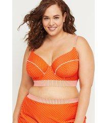 lane bryant women's mixed print longline swim bikini top with balconette bra 42dd mandarin dot