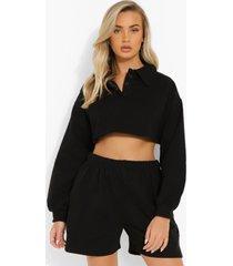korte sweater met polo kraag, black