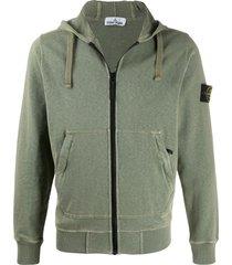 stone island logo patch zipped hoodie - green
