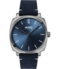hugo men's #own blue leather strap watch 40mm