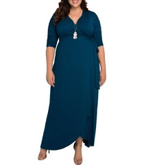 plus size women's kiyonna meadow dream wrap maxi dress, size 2x - blue