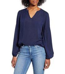 women's caslon split neck top, size small - blue