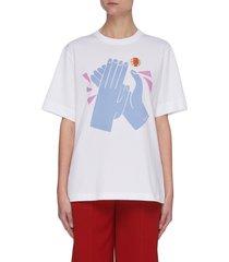 hand graphic print cotton t-shirt