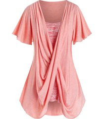 plus size crossover space dye flutter sleeve tunic tee