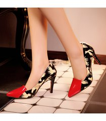 pp360 cutie pointy pump w hands printed, pu leather,us size 4-8.5,red/black