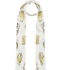 burberry oyster print silk satin skinny scarf - white