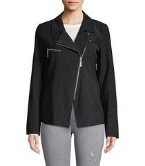 asymmetric long-sleeve moto jacket