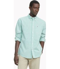 tommy hilfiger men's classic fit essential check shirt evergreen - xxl