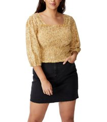 cotton on curve puff sleeve shirred top