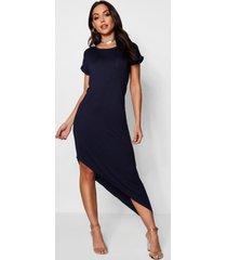 asymmetrische midi-jurk, marineblauw