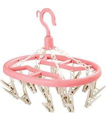 mini varal para roupas íntimas com 18 pregadores rosa