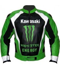 men black green kawasaki motorcycle racing leather jacket xs to 6xl sizes avail