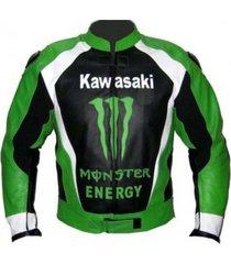 men black green kawasaki motorcycle racing leather jacket xs to 6xl sizes avail