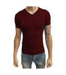 camiseta gola v vies manga curta vermelho escuro