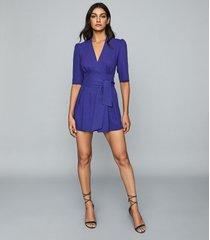 reiss uma - wrap-tie playsuit in blue, womens, size 12
