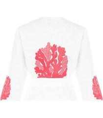 capa feminina coral - off white
