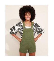 macaquinho de sarja feminino com bolsos verde militar