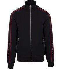 alexander mcqueen man black sweatshirt with zip and logoed bands