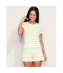 pijama feminino listrado manga curta verde