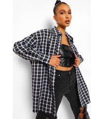 oversized geruite long line blouse, black