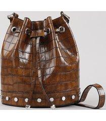 bolsa bucket feminina média transversal croco em verniz com tachas caramelo