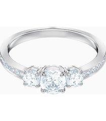 anello attract trilogy round, bianco, placcatura rodio