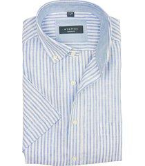 eterna korte mouw overhemd blauw gestreept