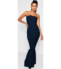 bandeau fishtail maxi dress, navy