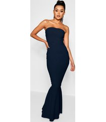 bandeau fitted fishtail maxi bridesmaid dress, navy