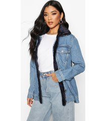 oversized borg detail jean jacket, mid blue