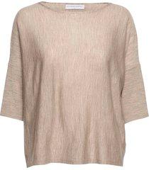 wide tee stickad tröja beige cathrine hammel