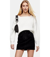 black lace up front black denim skirt - washed black