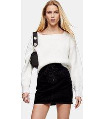 black lace up front black denim skirt - washed black