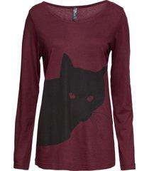 maglia a maniche lunghe con gatto (rosso) - rainbow