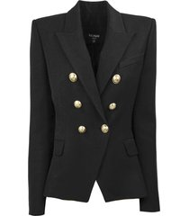 balmain black double-breasted blazer
