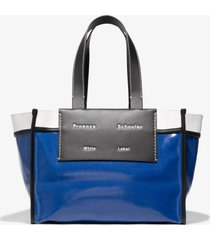 proenza schouler white label large morris coated canvas tote blue/black one size