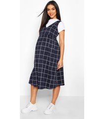 maternity flannel smock pinafore dress, navy